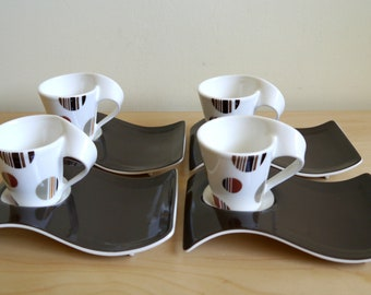 Vintage Villeroy and Boch, New Wave Caffe 'Chocolate Drops' espresso cups and saucers
