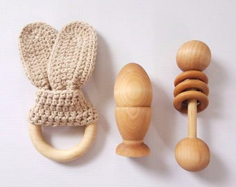 Montessori Baby Toys, Gender Neutral Baby Gift Set, Baby Teething Toy, Wooden Rattle, Wooden Baby Toys, Toys for 1 Year Old, New Baby Gift