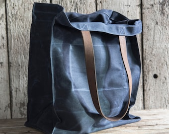 Waxed Canvas Marlowe Carryall in Rook, Indigo Tote, Waxed Canvas Bag, Shoulder Bag, Market Tote, Everyday Carry, Military Leather For Him