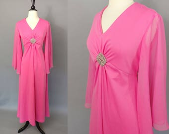 R...e...s...e...r...v...e...d............vintage 70s hot pink evening gown || early 1970s bright pink hostess dress