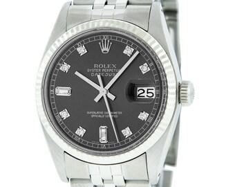 Rolex Mens Datejust SS & White Gold Slate Grey Diamond Fluted Watch
