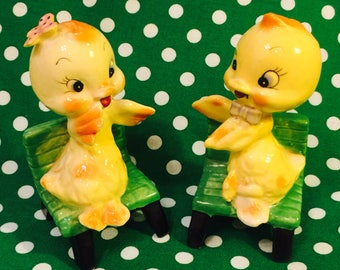 Anthropomorphic Yellow Baby Ducks on Benches Salt and Pepper made in Japan circa 1950s