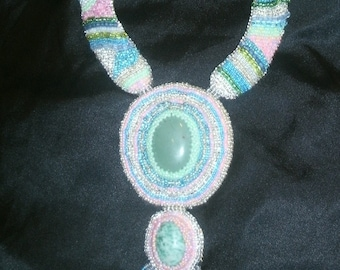 Aventurine, Agate Pink Blue Silver and Aqua Hand Bead Embroidered Statement Collar Necklace