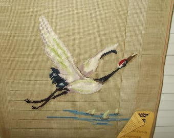 """Vintage Needlepoint Canvas-Crane in Flight- by Prismacolor-15"""" Sq-Made in China"""
