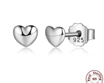 Petite Plain Hearts Stud Earrings