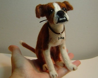 Custom Dog needle felted art Pet miniature sculpture made to order memorial