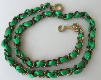 Chain Link Belt MOD BOHO Gold with Green Ribbon Interwoven One Size Fit Most Small-Medium- Large