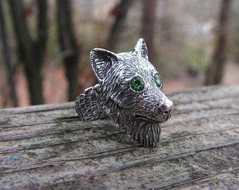 Sterling Silver Timber Wolf Ring With Emerald Eyes