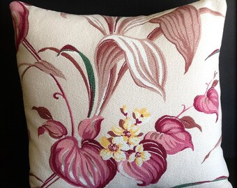 """Vintage Barkcloth Pillow 14"""" x 14""""– Insert Included"""