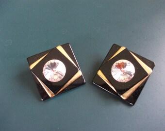 Vintage Faceted Glass Rhinestone Black & Gold Modernist Clip On Earrings