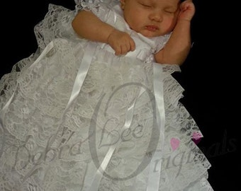 White Lace baby girls Christening Gown Blessing Gown Blessing Dress Naming Dress Formal Ware