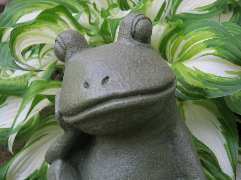 Frog Garden Statue Relaxing Concrete Frog Cement Garden Art