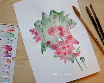 Original watercolor painting 'Chrysanthemum', flowers, spring, flowers