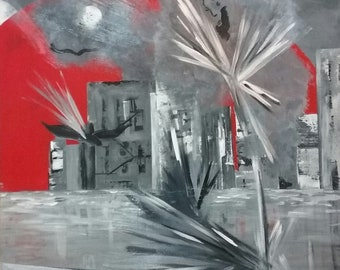 Order a Custom Painting, Surreal Painting with Red Moon, Acrylic Painting on Canvas