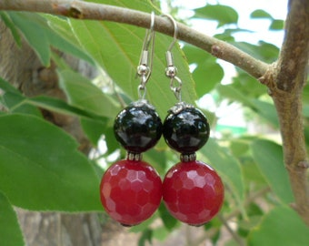 Onyx, Ruby paste earrings