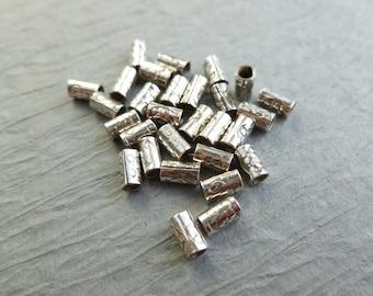 10 SILVER 925 BALI TUBE beads 6mm long