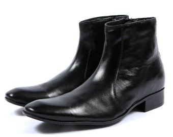 Aspele Mens Black Classic Leather Chelsea Ankle Boots