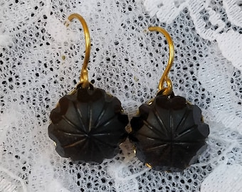 Black Resin Button Mourning Earrings