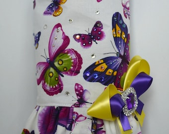 Dog Harness Vest - Custom Dog Dress - Purple Butterflies
