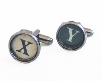 Henry -  Initial Typewriter Key Cufflinks - Personalized For Him - Groomsmen Gift - Groom