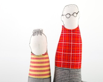 Reserved for Kitty, Father and son - Parent with glasses red checkered shirt and gray pants , boy in red yellow striped shirt  fabric dol