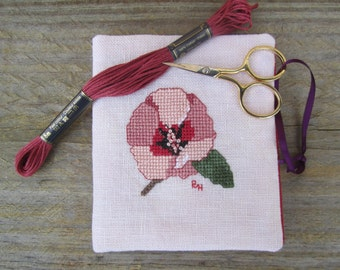 Cross stitch needlebook on dusty pink linen and raspberry-red fabric lining - Sturts Desert Rose