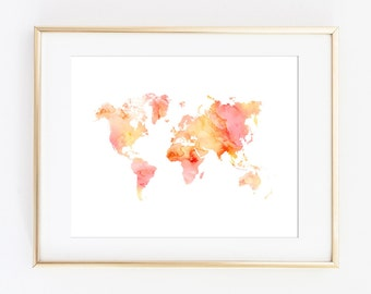 World Map Print, World Map, Map Printable, Watercolor World Map, Printable Art Print, Travel Poster, Travel Print, Nursery Wall Art Decor