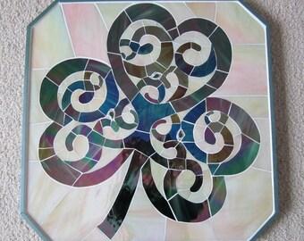 Glasss Mosaic Shamrock Glass Art Mosaic St. Patrick's day decoration Irish Mosaic Art