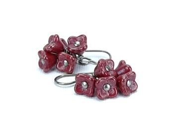 Titanium Earrings Cherry Red Flower Cluster Niobium Earrings, Cascading Warm Cherry Red Flower Earrings for Sensitive Ears, Niobium Jewelry
