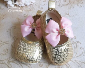 Gold Sequin Shoes - Pink and Gold First Birthday Outfit - Pink and Gold First Birthday - Pink and Gold 1st Birthday Outfit