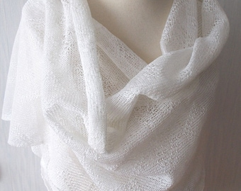 Linen Scarf White Shawl Knitted Natural Summer Wedding Wrap