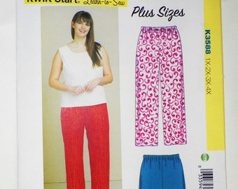 LEARN To Sew Woman's Pajama Pants & Shorts P.J's For Beginners Kwik Sew K3588 Plus Sizes 1X-2X-3X-4X Women's EASY Sewing New Pattern UNCUT
