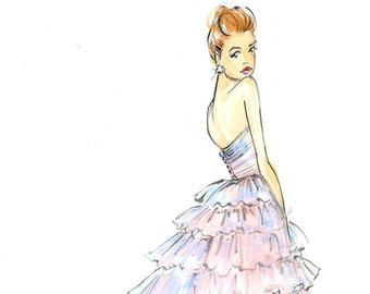 Fashion Illustration-Fashion Print-Suki Waterhouse-Burberry-Sketch-Fashion Illustrator-Brooke Hagel