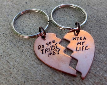 Dollhouse quote - Do you trust me / With my life - Hand Stamped Valentine heart keychain set