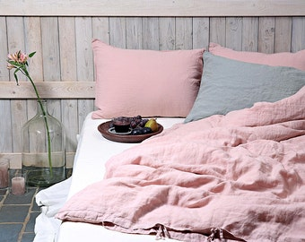 Flax duvet cover in dusty pink color / Stonewashed and soft pure linen bedding / Linen duvet cover