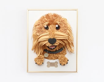 """Custom Goldendoodle Pet Portrait made from Paper. 5"""" x 7"""""""