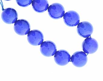 Blue  dyed jade beads , round , 14mm , 09148.34