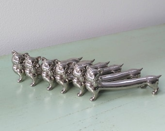 6 knife rests cat vintage silver plated metal