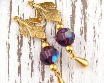 Purple, Bead Dangles, Swarovski Bead Dangles,Earring Bead Dangles, 2 pieces //BD-038