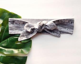 Grey Tie Dye - Headband Headscarf Neckscarf Adult