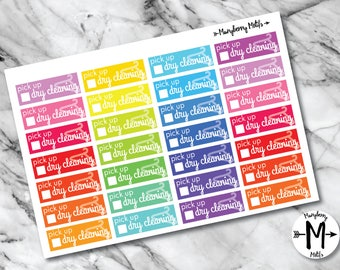 Dry Cleaning Reminder Stickers for Planners or Calendars