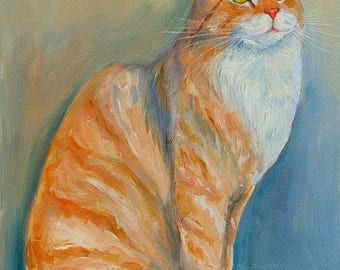 Ginger Tabby Cat Original Oil Painting