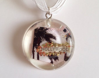 Hollywood Glitter Necklace- Magazine Scrap with glitter in Resin Pendant