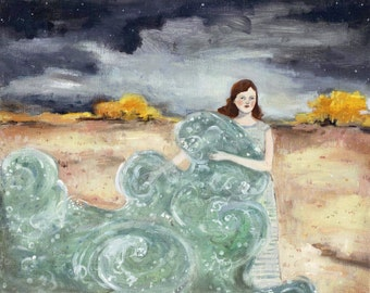 giclee print - she carried with her the sea - limited edition fine art print of oil painting, wall art