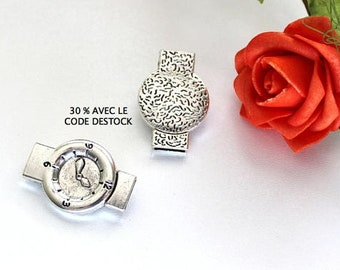 x 1 magnetic clasp in antique silver watch shape