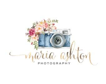 Premade Logo Design - Watercolor Camera Flowers Gold Logo - Initials Logo - Photograhy Watermark Logo Branding Customizable for any business