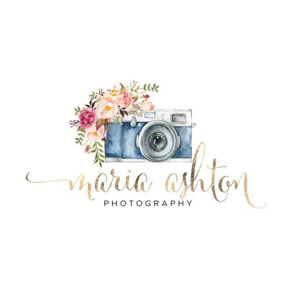 Premade logo design watercolor camera flowers gold logo for Camera blueprint maker gratuito