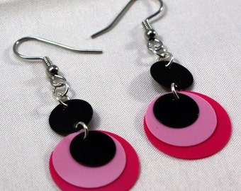 Paillette Earrings Round Sequin Earrings Two Tone Pink & Black Circles Dangle Plastic Sequins