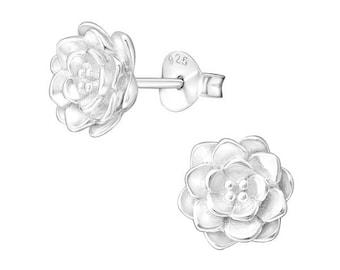 Lotus Flower Post Earrings - 925 Sterling Silver - ES9677