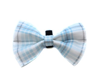 Bow Tie for Dog Collar attaches with hook-and-loop fastener Blue and Silver Plaid